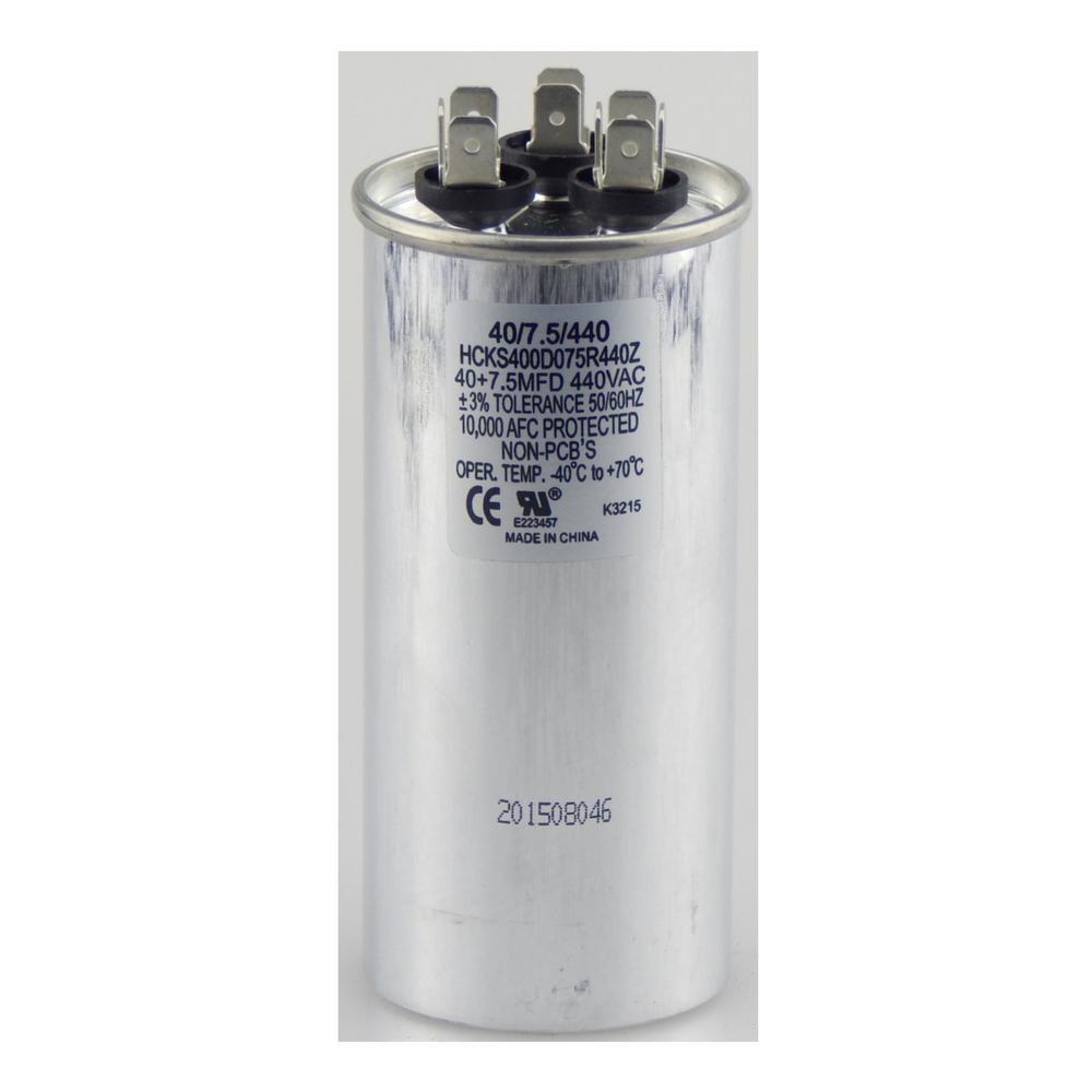 440-Volt 40/7.5 MFD Dual Rated Motor Run Round Capacitor