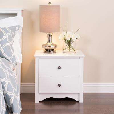 Monterey 2-Drawer White Nightstand