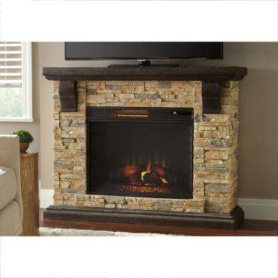 Faux Stone Mantel Electric Fireplace In Tan