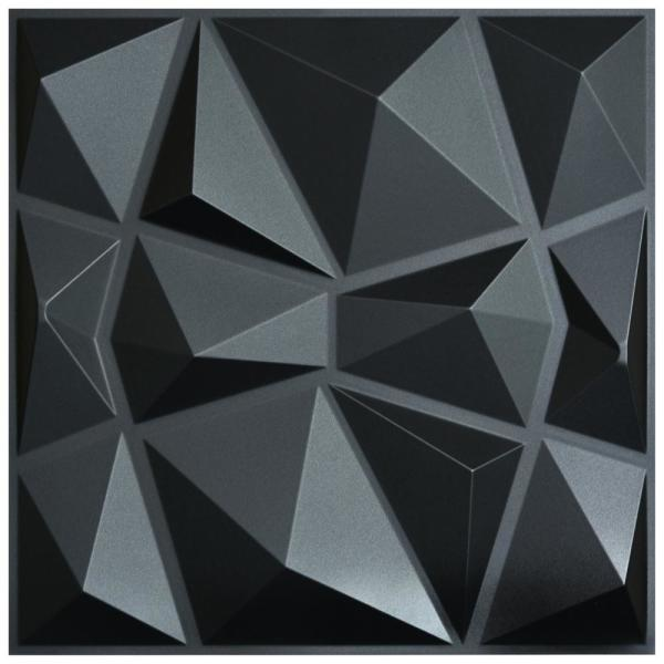 19.7 in. x 19.7 in. Diamond Black 3D PVC Wall Panels (12-Pack)