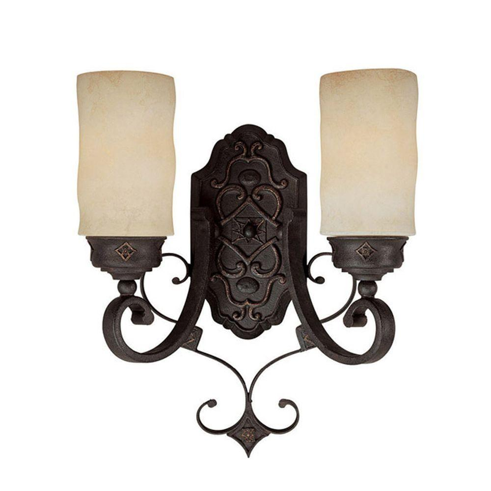 Filament Design 2 Light Rustic Iron Sconce With Scavo Glass