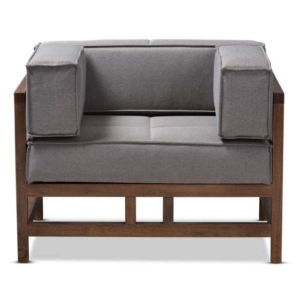 Baxton Studio Shaw Gray Fabric Arm Chair 28862-7839-HD