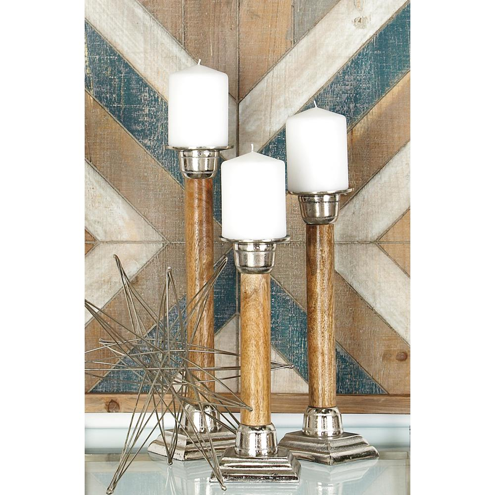 Silver Aluminum and Brown Wood Candle Holder (Set of 3)