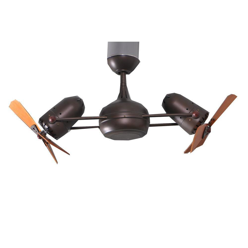 Gale Series 14 in. Indoor Textured Bronze Double Headed Ceiling Fan