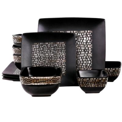 Naina 16-Piece Black Patterned Double Bowl Dinnerware Set