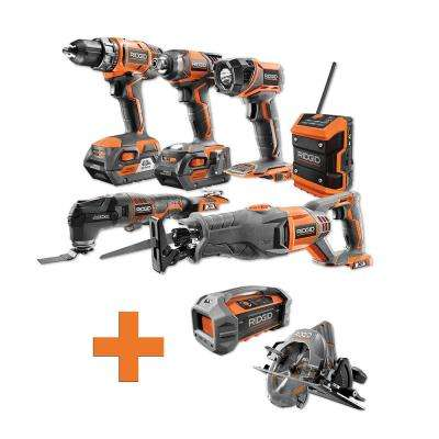 18-Volt Lithium-Ion Cordless Combo Kit (6-Tool) (2) 4Ah Batt and Charger w/Bonus Brushless Circular Saw & Jobsite Radio