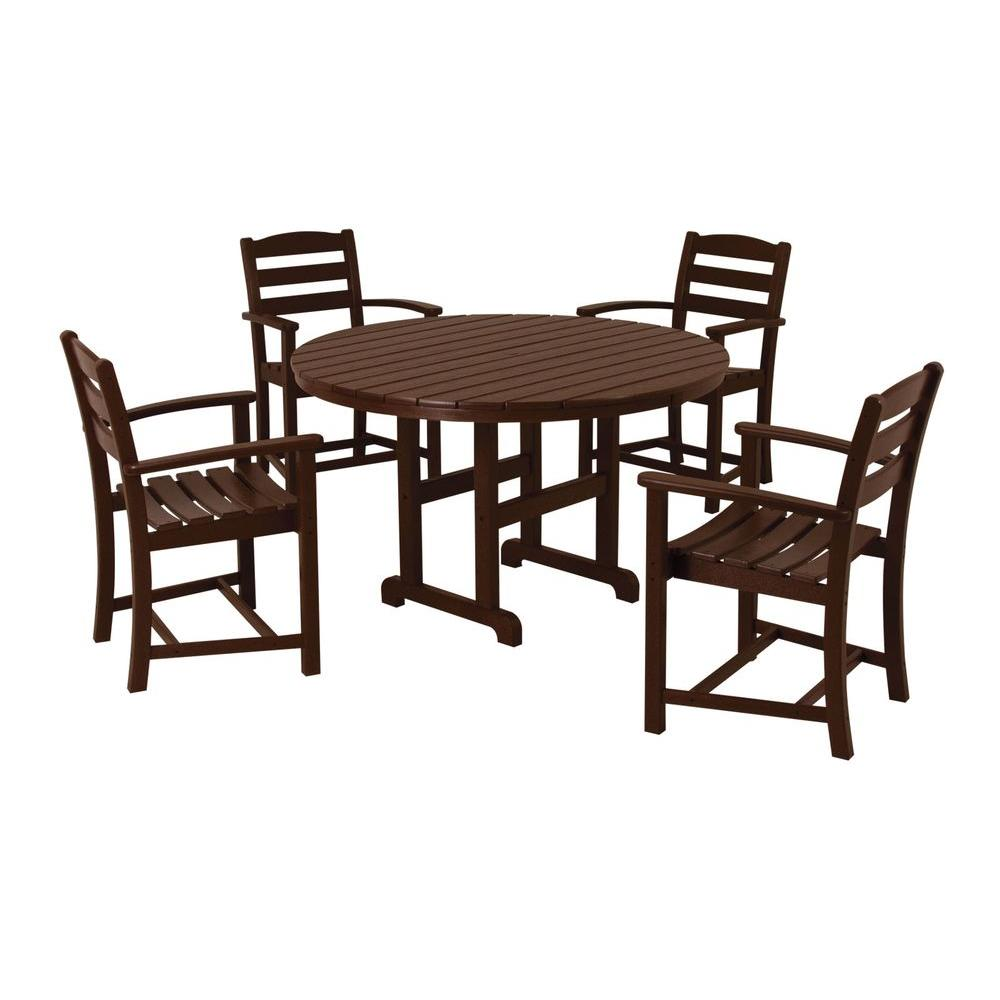 POLYWOOD La Casa Cafe Mahogany 5-Piece Plastic Outdoor Patio Dining Set