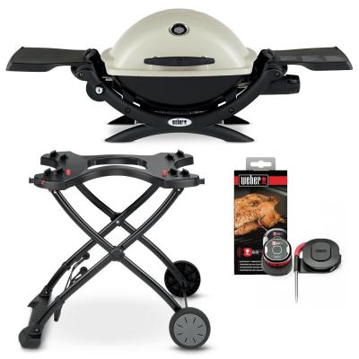 Q 1200 1-Burner Portable Propane Gas Grill Combo in Titanium with Rolling Cart and iGrill Mini