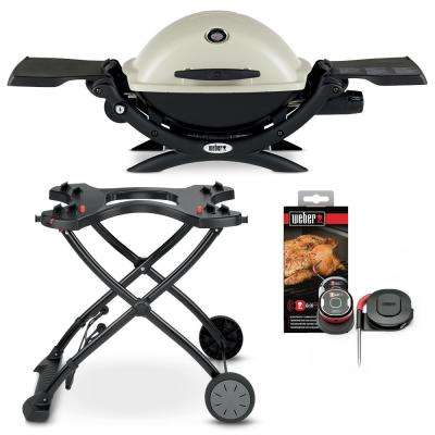 Q 1200 1-Burner Portable Propane Gas Grill in Titanium Combo with Rolling Cart and iGrill Mini