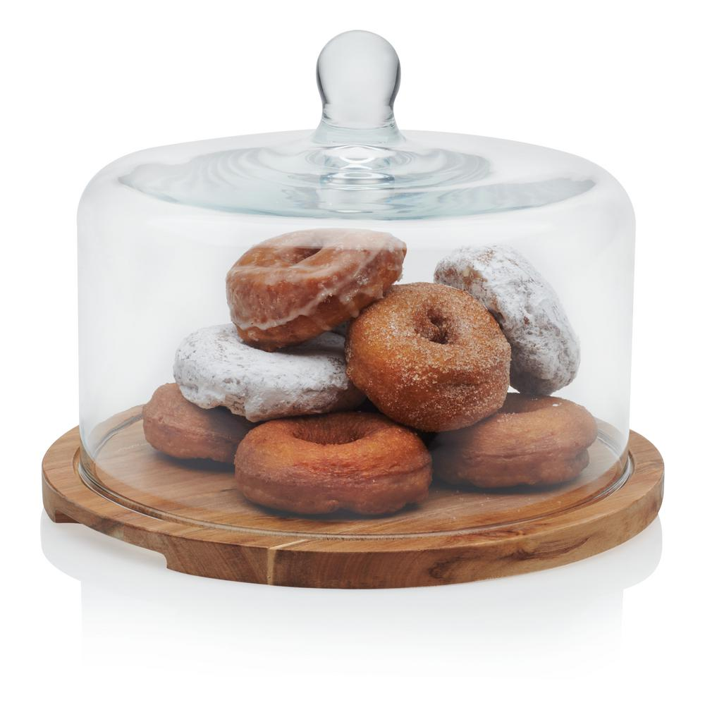 Acaciawood Flat Round Wood Server with Glass Dome
