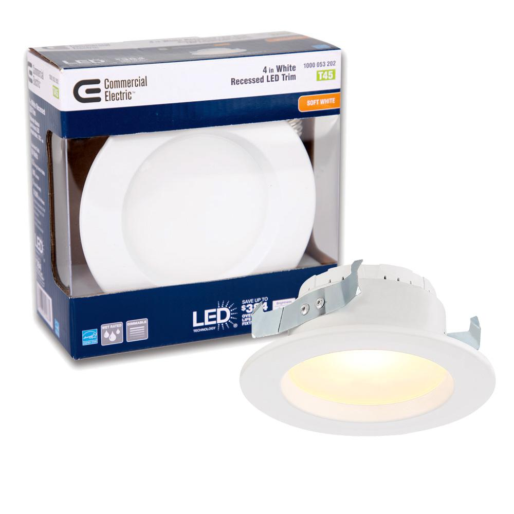 Commercial Electric 4 In. White Integrated LED Recessed