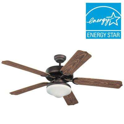 Weatherford Deluxe 52 in. Roman Bronze ABS with American Walnut Blades Ceiling Fan