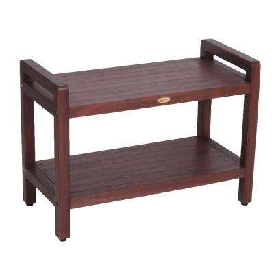 Classic 29 in. Extended LENGTH Ergonomic Teak Shower Stool with LiftAid Arms And Shelf