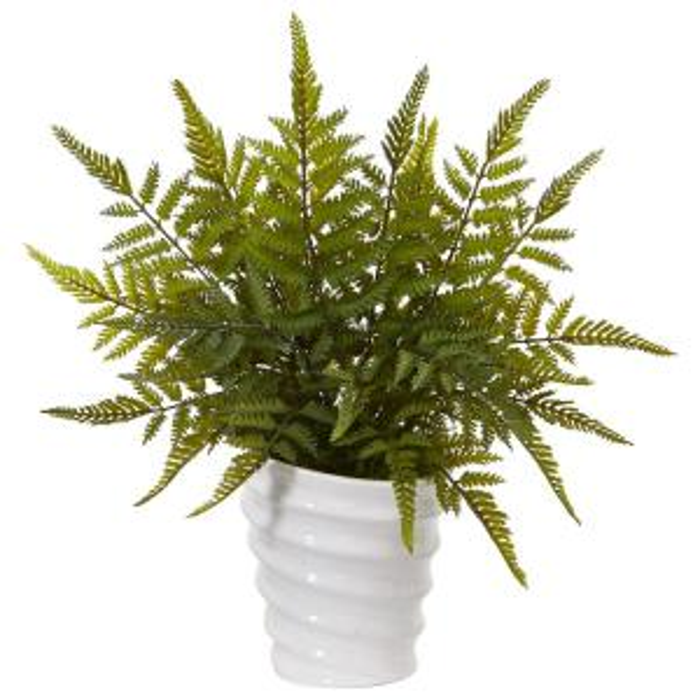 16 in. Fern Artificial Plant in White Planter