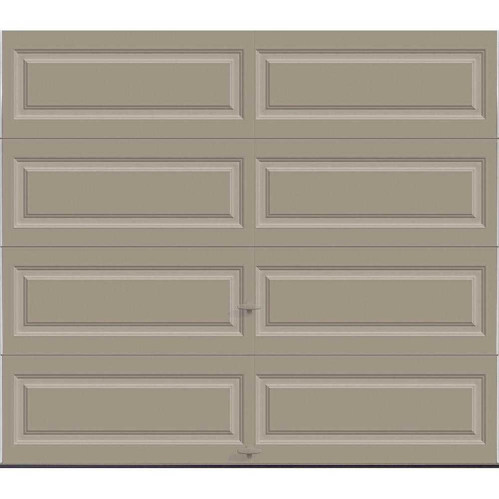 Clopay Premium Series 8 ft. x 7 ft. 18.4 R-Value Intellicore Insulated Solid Sandtone Garage Door