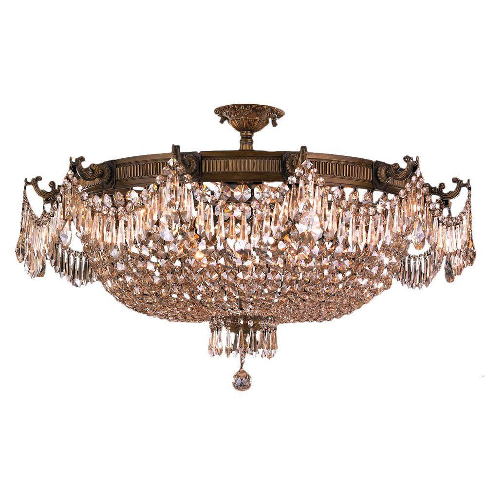 Worldwide Lighting Winchester 12-Light Antique Bronze and Golden Teak Crystal Semi-Flush Mount Light