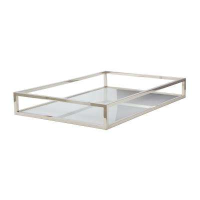 Box Rod 30 in. x 20 in. x 4 in. Rectangular Iron And Acrylic Decorative Tray in White