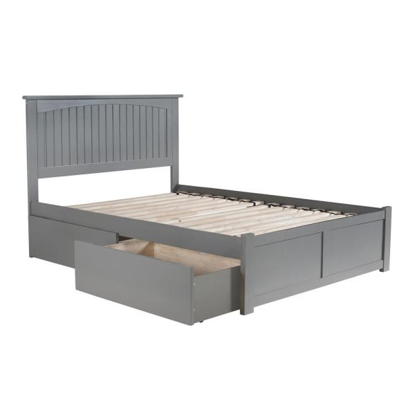 Nantucket Full Platform Bed with Flat Panel Foot Board and 2 Urban Bed Drawers in Grey