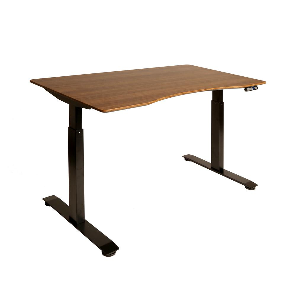 Seville Classics Airlift Black Base With Walnut Ergo Table Top S2 Electric Height Adjule Standing