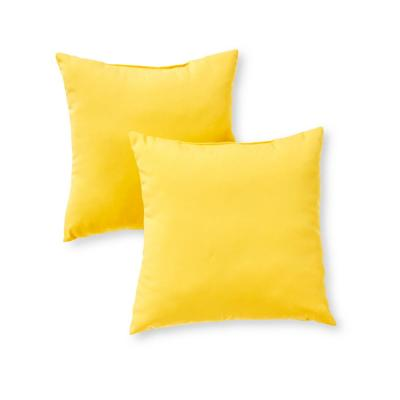 Solid Sunbeam Yellow Square Outdoor Throw Pillow (2-Pack)