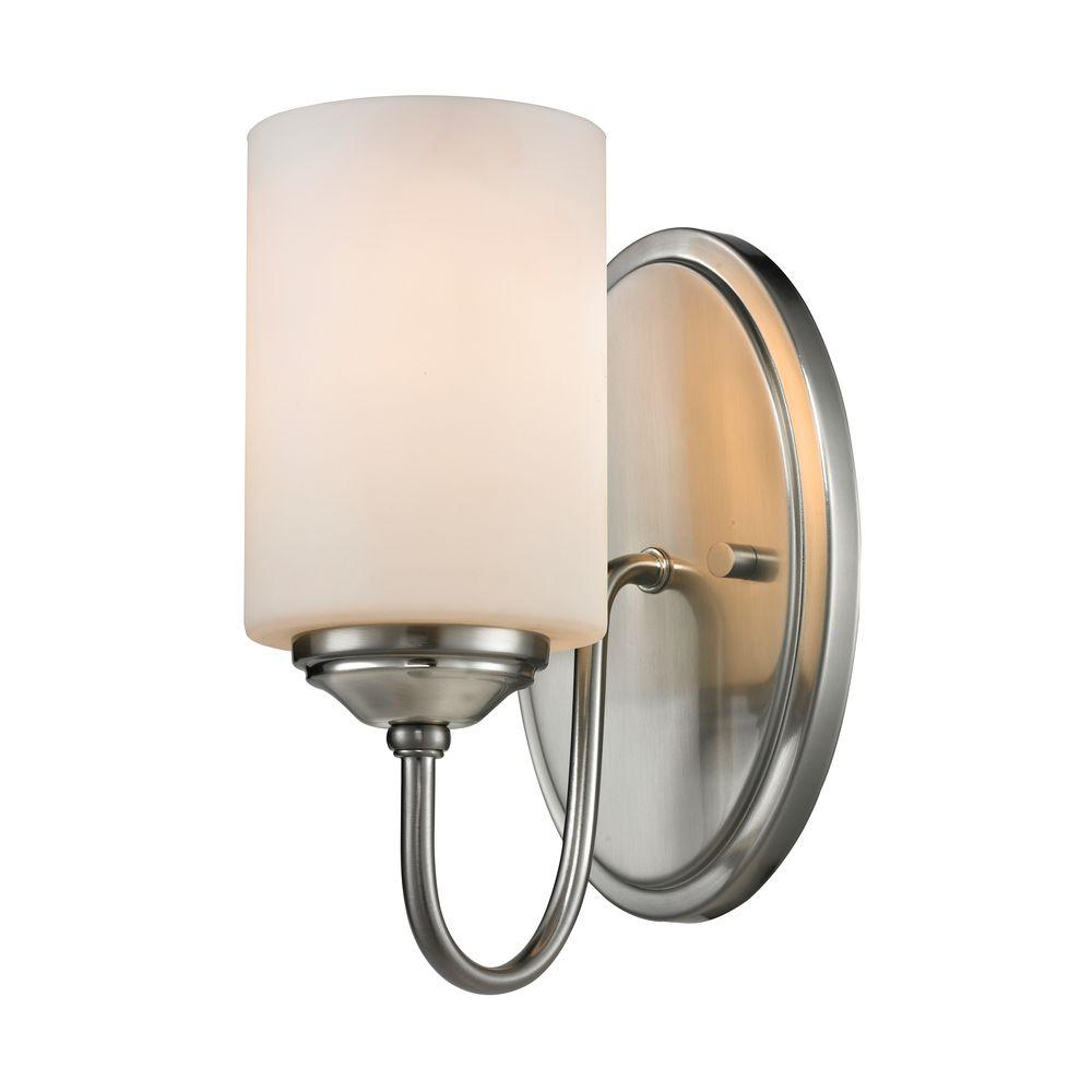 Robyn 1-Light Brushed Nickel Modern Curved Wall Sconce with Matte Opal