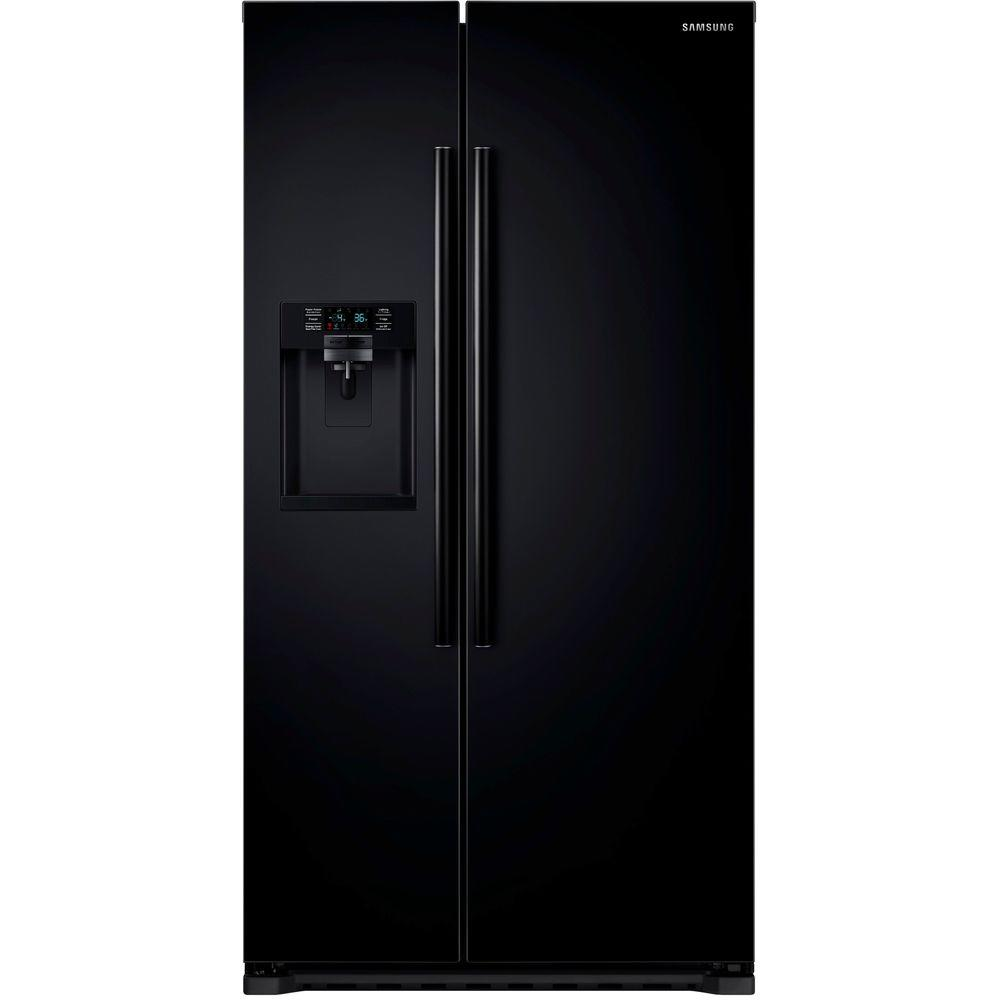 samsung 22 3 cu ft side by side refrigerator in black counter depth rs22hdhpnbc the home depot. Black Bedroom Furniture Sets. Home Design Ideas
