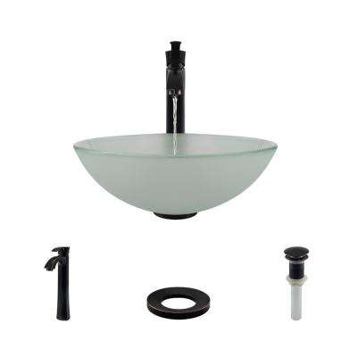 Glass Vessel Sink in Frosted with R9-7006 Faucet and Pop-Up Drain in Antique Bronze
