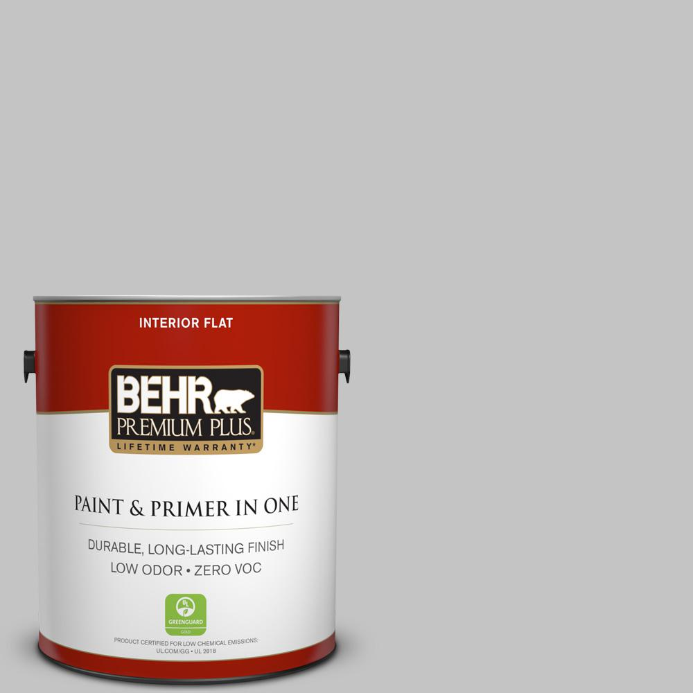1 gal. #N520-2 Silver Bullet Flat Zero VOC Interior Paint and