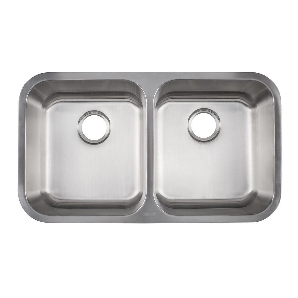 Evolution Undermount Stainless Steel 33 in. 50/50 Double Bowl Kitchen Sink in Satin Stainless Steel