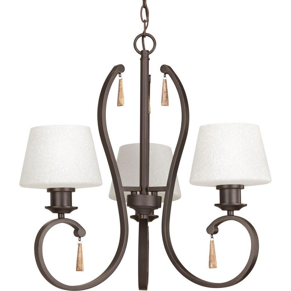 Club Collection 3-Light Antique Bronze Chandelier with Tea-Stained Glass Shade