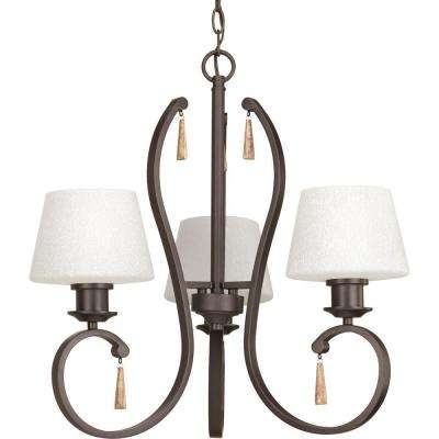 Club Collection 3-Light Antique Bronze Chandelier with Shade with Tea-Stained Glass Shade