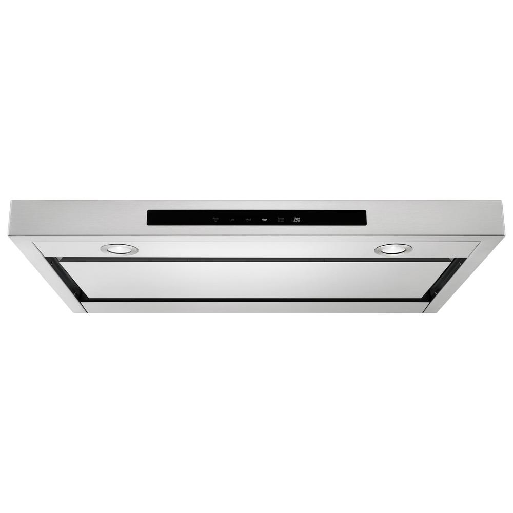 Kitchenaid 36 In Low Profile Under Cabinet Ventilation Hood With Light Stainless Steel Kvub406gss The Home Depot