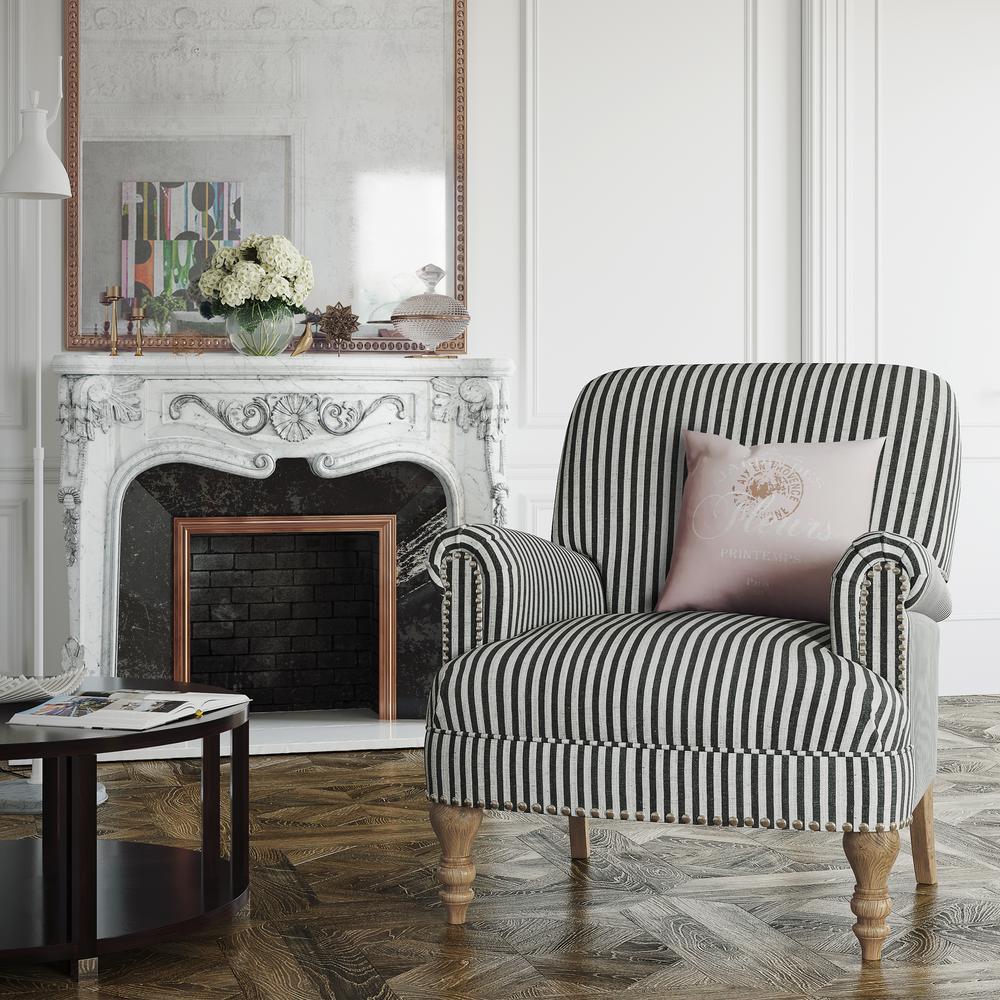 Dorel Living Joy Black Striped Upholstered Accent Chair ...