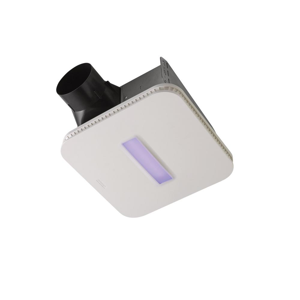 Broan SurfaceShield Vital Vio Powered 110 CFM Ceiling Bathroom Exhaust Fan Vent with LED White and Antibacterial Violet Light