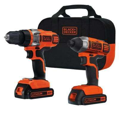 20-Volt MAX Lithium-Ion Cordless Drill/Driver and Impact Combo Kit (2-Tool) with (2) Batteries 1.5Ah, Charger and Bag