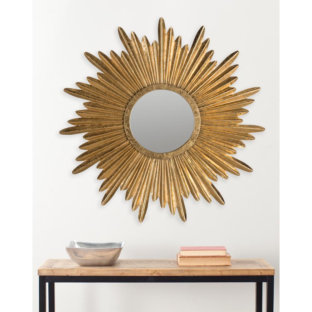 Josephine Round Antique Gold Sunburst Decorative Mirror
