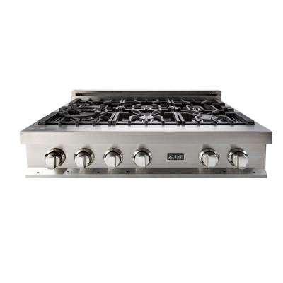 ZLINE 36 in. Stainless Steel/Ceramic Rangetop with 6 Gas Burners