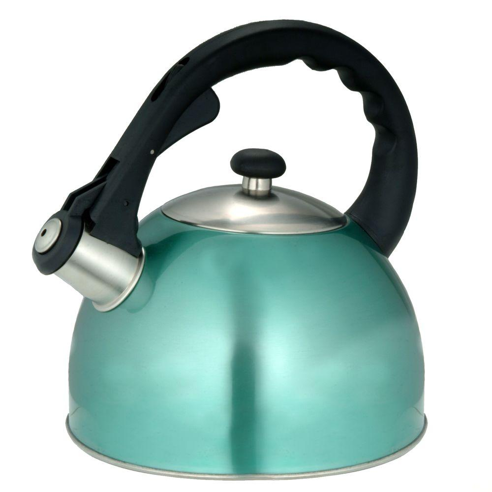 Satin Splendor 11.2-Cup Stovetop Tea Kettle in Aqua