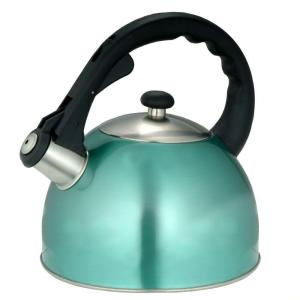 Click here to buy Creative Home Satin Splendor 11.2-Cup Stovetop Tea Kettle in Aqua by Creative Home.