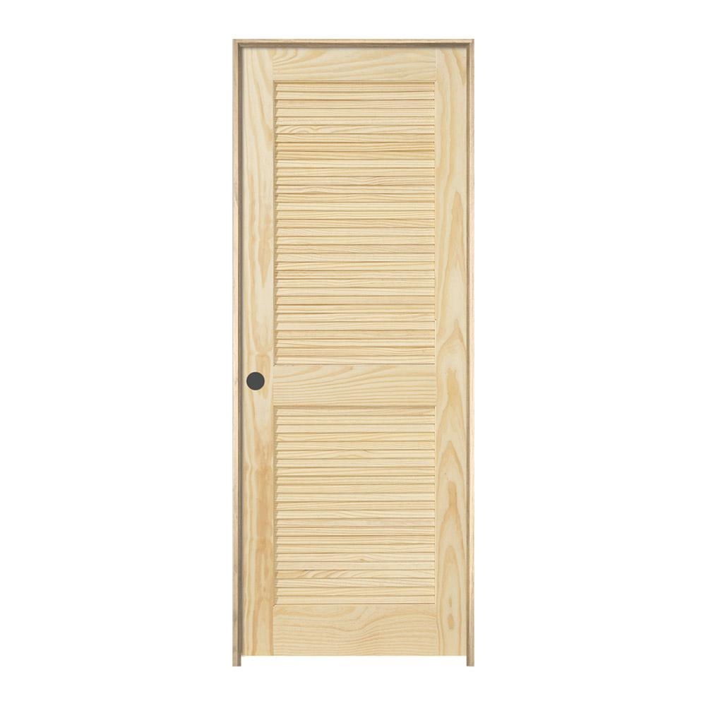 36 In X 80 In Pine Unfinished 2 Panel Full Louver Wood: JELD-WEN 36 In. X 80 In. Pine Unfinished Right-Hand 2