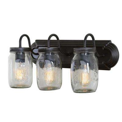 3-Light Bronze Mason Jars Wall Sconce