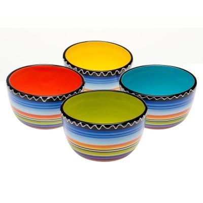 Tequila Sunrise Multi-Colored Ice Cream and Cereal Bowl (Set of 4)