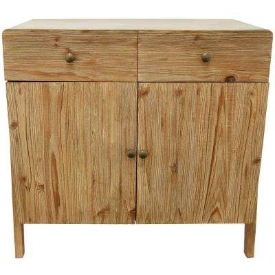 Brown Wood Cabinet with Drawers and Doors