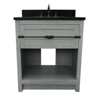 Plantation II 31 in. W x 22 in. D Bath Vanity in Gray with Granite Vanity Top in Black with White Rectangle Basin