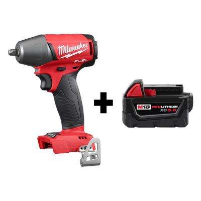 M18 FUEL 18-Volt Lithium-Ion Brushless Cordless 3/8 in. Compact Impact Wrench w/ Friction Ring, Free M18 5.0 Ah Battery