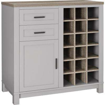 Viola Sonoma and Gray 18-Bottle Bar Cabinet