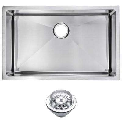 Undermount Small Radius Stainless Steel 30.in 0-Hole Single Bowl Kitchen Sink with Strainer in Satin Finish