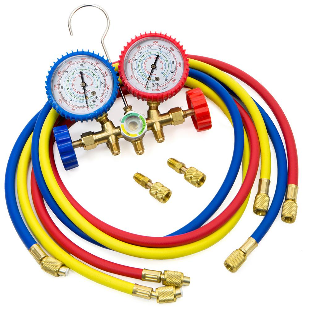 Stark HVAC R410A R22 R404A A/C Diagnostic Manifold Gauge Set Charging  Refrigeration
