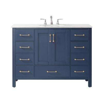 "Gela 48"" Single Vanity in RoyalBlue with Carrara White Marble Countertop Without Mirror"