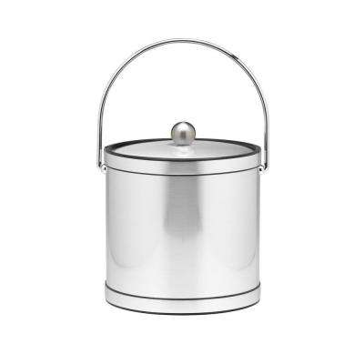 3 Qt. Brushed Chrome Mylar Ice Bucket with Chrome Bale Handle, Bands and Metal Cover